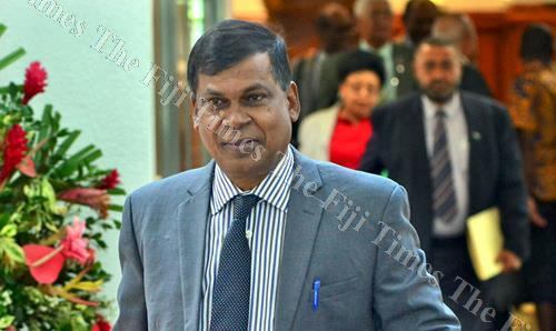 Opposition MP Professor Biman Prasad after a Parliament sitting last week. Picture: JONACANI LALAKOBAU