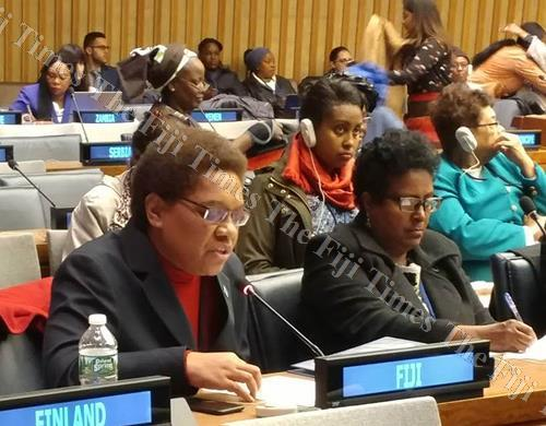 Minister for Women, Children and Poverty Alleviation Mereseini Vuniwaqa speaks at the 62nd Commission on the Status of Women (CSW) in New York. Picture: Supplied