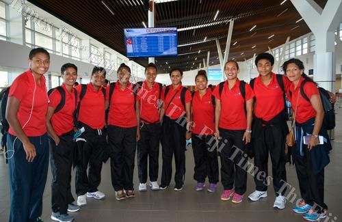Members of the Fiji Pearls netball side at the Nadi International Airport yesterday before flying to New Zealand. Picture: BALJEET SINGH