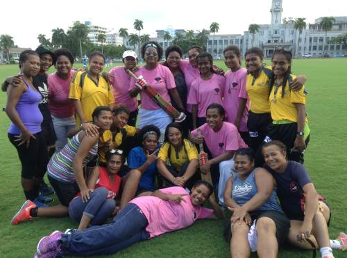 Combine women's team taking part in the Easter games at Albert Park today. Photo: PAULINI RATULAILAI