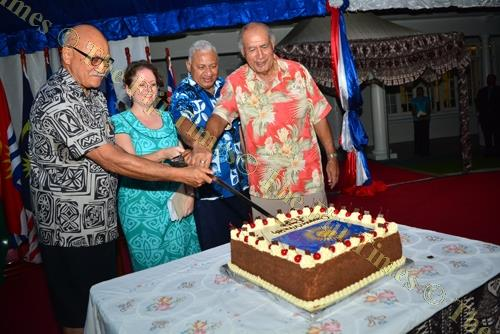 From left: President Jioji Konrote, British High Commissioner Melanie Hopkins, Prime Minister Voreqe Bainimarama and former president Ratu Epeli Nailatikau cut the cake during the Commonwealth Day reception at Borron House last night. Picture: JOVESA NAIS