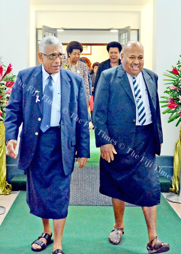 Opposition member of Parliament Ratu Naiqama Lalabalavu, left, and Anare Vadei during a break between session at Parliament. Picture: JONACANI LALAKOBAU