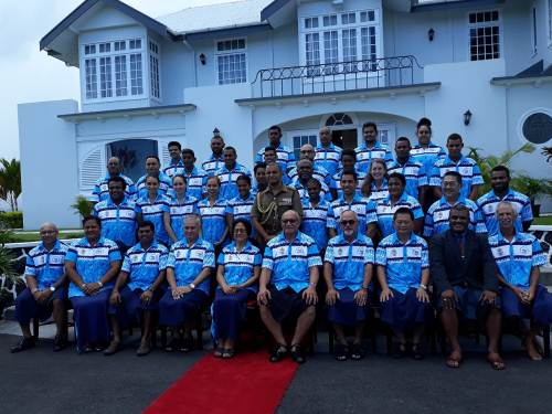 Team Fiji with President Jioji Konrote at Boron House today. Picture: ALISI VUCAGO