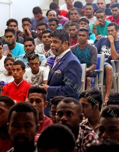 Attorney-General and Minister for Economy Aiyaz Sayed-Khaiyum speaks during the budget consultation at the Fiji National University, Derrick Campus in Suva yesterday. Picture: JONA KONATACI