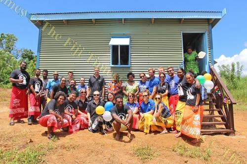 The Pacific Build HYLB Team with homeowner Elesi Naso in Sabeto, Nadi. Picture: SUPPLIED