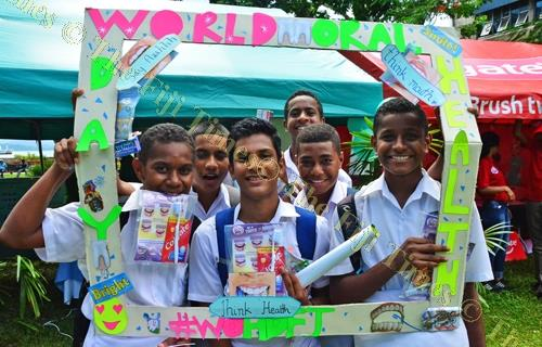 School students at the World Oral Health Day celebrations at Ratu Sukuna Park in Suva yesterday. Picture: JONACANI LALAKOBAU