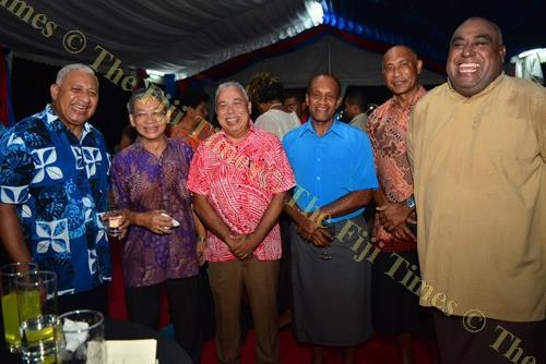 Prime Minister Voreqe Bainimarama with Dixon Seeto, Nesbitt Hazelman, Jone Usamate, Viliame Naupoto and Semi Koroilavesau during the Commonwealth Day reception at Borron House in Suva on Monday. Picture: JOVESA NAISUA