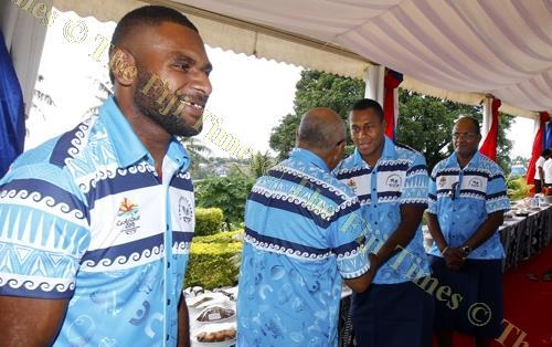 Sevens rep Jasa Veremalua (left) at Borron House during Team Fiji itatau in Suva yesterday. Picture: ELIKI NUKUTABU