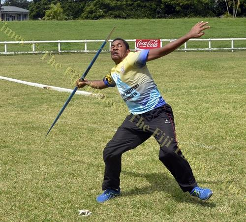 Cuvu College athlete Atunaisa Sovaki Ketenisaurani competes in the junior boys javelin throw during the Nadroga-Navosa Athletics Zone at Lawaqa Park, Sigatoka yesterday. Picture: REINAL CHAND