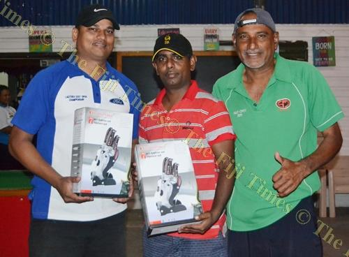 Lautoka Golf Club Ambrose winners Asish Kumar and Bhupendra Dass with sponsor's rep Prem Chand (right). Picture: SUPPLIED