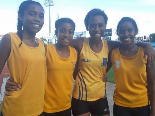 The Suva Grammar School 4x400m sub-junior girls gold medal winning team. Picture: Alisi Vucago