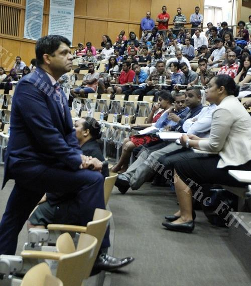 Attorney-General and Economy Minister Aiyaz Sayed-Khaiyum speaks to students at the University of the South Pacific during the budget consultation yesterday. Picture: ATU RASEA