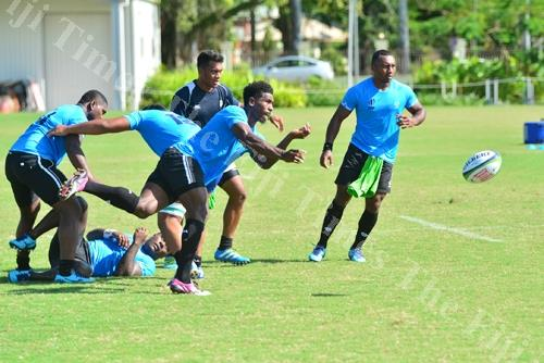 Fiji Warriors halfback Frank Lomani in action during the World Rugby Pacific Combined team training session at Albert Park in Suva. Picture: JOVESA NAISUA