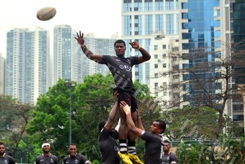Masivesi Dakuwaqa in control of the ball during the Fiji team's training session in Hong Kong in 2016. Picture: File