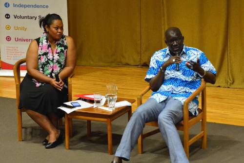 Mr As Sy Are speaks at a public discussions at the USP. Picture: JOVESA NAISUA