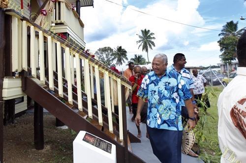 Prime Minister Voreqe Bainimarama at the opening of the new Nabua community hall in Suva yesterday. Picture: ATU RASEA