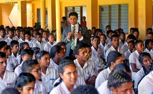 Attorney-General and Minister for Economy Aiyaz Sayed-Khaiyum speaks to students at Vashist Muni College in Navua during the 2018-2019 National Budget consultation yesterday. Picture: JONA KONATACI
