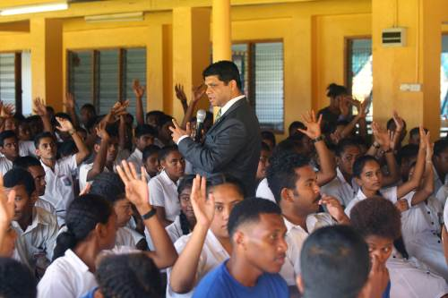 The AG talking to students of Vashist Muni in Navua. Picture: JONA KONATACI