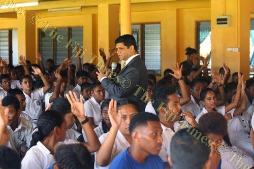 AG and Minister for Economy Aiyaz Sayed-Khaiyum during the budget consultation at the Vashist Muni College in Navua yesterday. Picture: JONA KONATACI