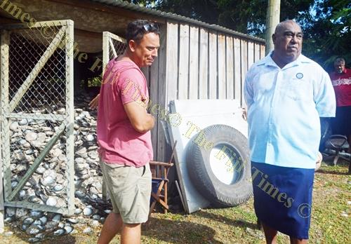 J Hunter Pearl owner Justin Hunter with Minister for Fisheries Semi Koroilavesau in Savusavu yesterday. Picture: LUISA QIOLEVU