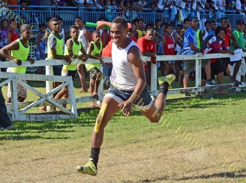 Sigatoka Methodist College's Penijamini Nasorowale wins the Senior Boys 4 x 100m Final during the Nadroga Navosa Zone. Picture: REINAL CHAND