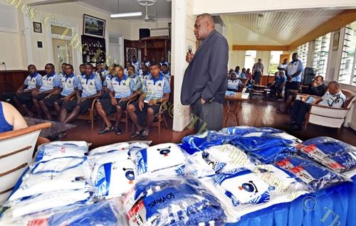 Deputy Commissioner of Police Rusiate Tudravu talks to the team during their jersey presentation yesterday. Picture: RAMA