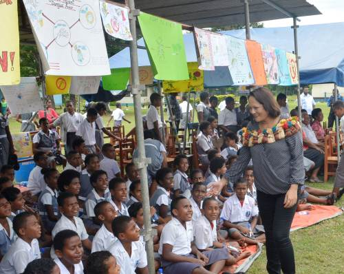Health Minister Rosy Akbar meets students of various schools during the Clean up campaign launch in Nadi yesterday. Picture: BALJEET SINGH