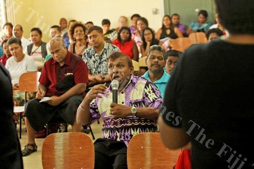 Pranay Chand raises an issue during the 2018/2019 National Budget consultation at the Fiji National Council for Disabled Persons complex yesterday. Picture: JONA KONATACI