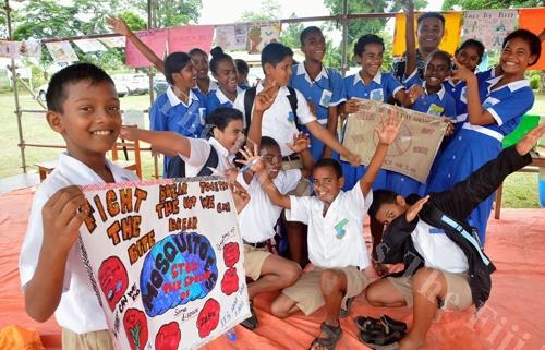 Nitish Chand (left) with other students of Sabeto Central School during the relaunch of the 'Fight the Bite' national clean-up campaign against dengue in Nadi yesterday. REPORT on Page 5 Picture: BALJEET SINGH