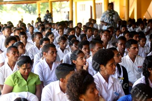 Students during the budget consultation with A-G and Minister for Economy, Aiyaz Sayed-Khaiyum at Vashist Muni College in Navua on Thursday. Picture: JONA KONATACI