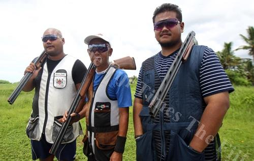 Fiji reps to the Commonwealth Games, from left, Christian Stephen, Michael Phua and Quintyn Stephen at Rifle Range, Vatuwaqa, Suva. Picture: JONA KONATACI