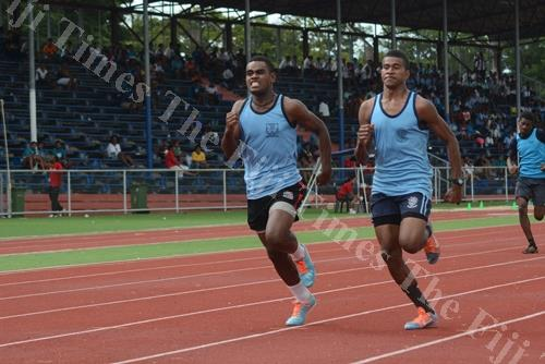 Ratu Navula College athlete Alifereti Ratematema (right) and Nawai Secondary School's Semi Nacoko race to the finish line during the senior boys 400m final at the Nadi Zone yesterday. Picture: REINAL CHAND