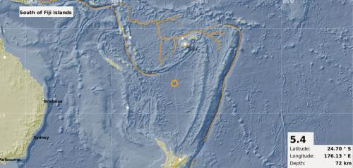 The map showing the epicentre of the 5.4 magnitude earthquake that occurred south of Fiji this morning. Picture: SUPPLIED