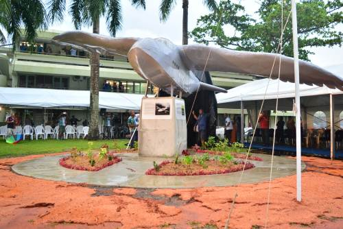 The staff of the University of the South Pacific at the unveiling of the RNZAF commemorative monument at the Laucala campus yesterday. Picture: JOVESA NAISUA