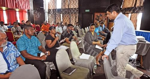 Kaajal Kumar (second from left) delivers her submission to the Attorney-General and Minister for Economy Aiyaz Sayed-Khaiyum during the budget consultation at De Vos on the Park hotel in Suva yesterday. Picture: RAMA
