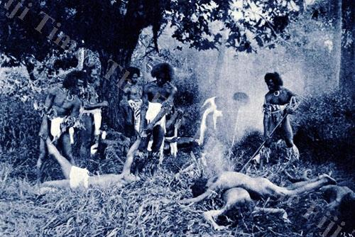 Fijian warriors bake their bokola or captives of war. All Tongans were baked and eaten at Waiyevo. Picture SUPPLIED