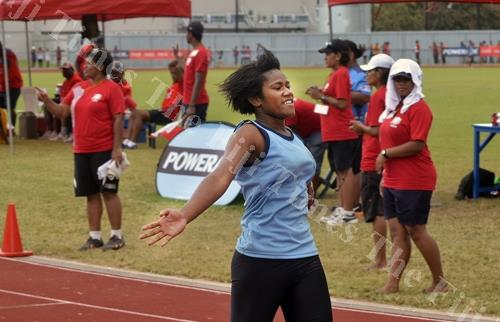 Ratu Navula College's Merewalesi Marama celebrates after winning the 200 metres final at Churchill Park in Lautoka yesterday. Picture: BALJEET SINGH
