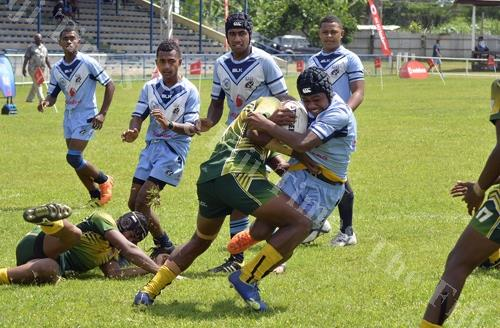Jope Naseara on attack for Ba Provincial Free Bird Institute against Ratu Sukuna Memorial School during the Fiji Secondary Schools Rugby League quarter-final at Prince Charles Park in Nadi yesterday. Picture: BALJEET SINGH