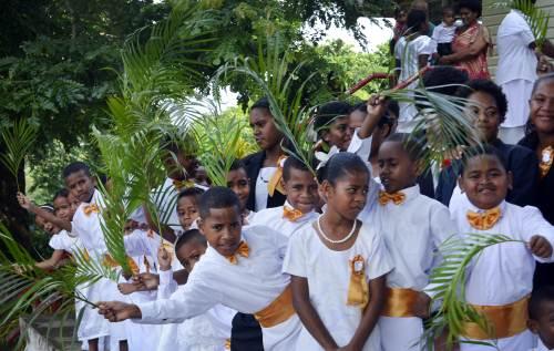 Children of Natokowaqa celebrate Palm Sunday. Picture: BALJEET SINGH