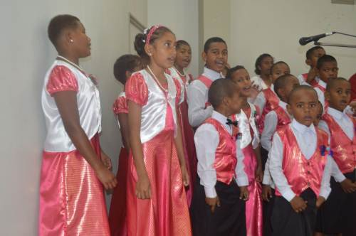 Children of the All Nations Christian Fellowship in Labasa sing Hossana during the Palm Sunday service today. Picture: LUISA QIOLEVU