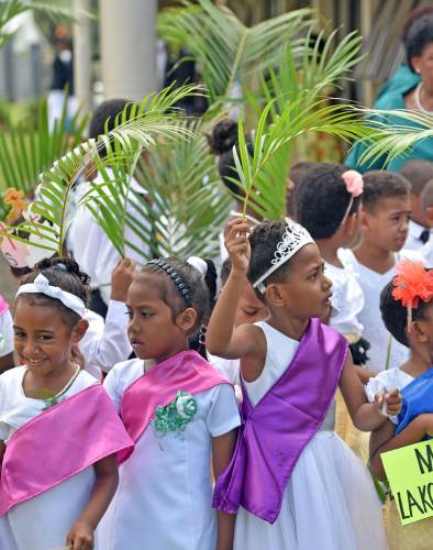 Children of Nadera Methodist Church circuit during the Palm Sunday celebration at Nadera this morning. Picture: RAMA