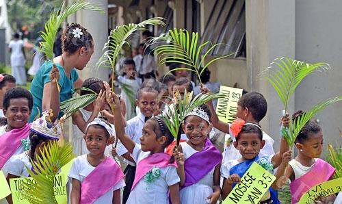 Children of Nadera Methodist Church circuit dressed in styles during the Palm Sunday celebration at Nadera yesterday. Picture: RAMA