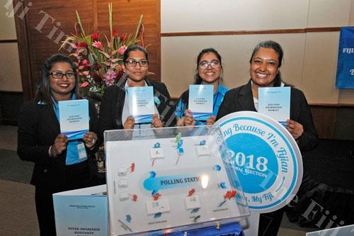 FEO staff Neelam Mani, Sheenal Singh, Shivika Mala and Natasha Verma during the launch of the 2018 General Election 'Know Your Election' Awareness Drive at the Grand Pacific Hotel. Picture: JONA KONATACI