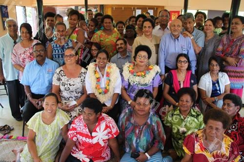 Assistant Minister for Women Veena Bhatnagar, withgarland and spectacles, among women of Lautoka who were part of the inaugural training for the Lifebread Stay Connected Foundation (Fiji) at the Almanah Hope Centre. Picture: SUPPLIED