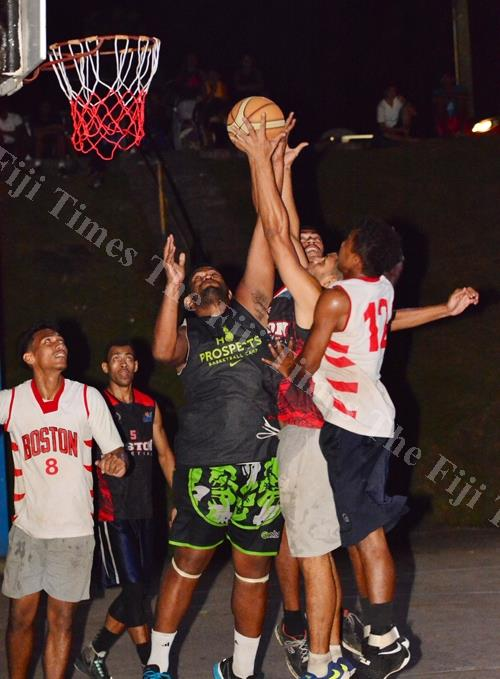 Wili Naisara of Spowart Dredge basketball team on attack during the final of the mens competition at the Raiwaqa Inter-lane basketball tournament yesterday. Picture: JOVESA NAISUA