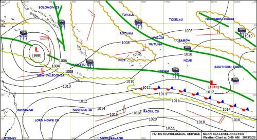 The weather map that shows the low pressure over the group. Picture: SUPPLIED