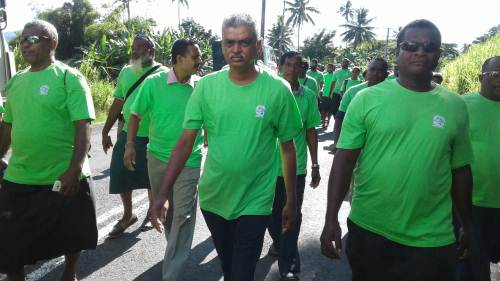 Fiji's Assistant Minister for Agriculture Viam Pillay joins the march of the Word Copra Day in Savusvau last Friday. Picture: SUPPLIED