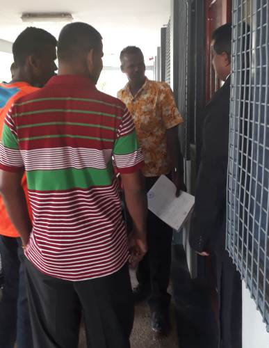 Bus driver Jiten Kumar (facing the camera) at the Labasa Magistrates Court today. Picture: LUISA QIOLEVU