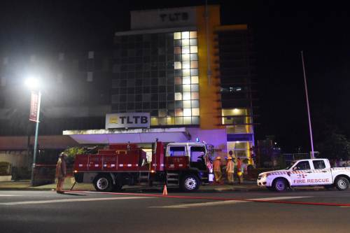 Fire fighters attend to the fire at the TLTB office in Suva. Picture: RAMA