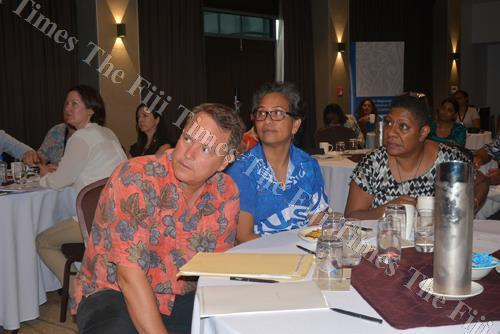 World Bank resident representative for the South Pacific Lasse Melgaard (left) at the Pacific Regional Shock Responsive Social Protection Conference in Nadi. Picture: REINAL CHAND